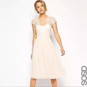 ASOS Scalloped Lace Midi Dress NWT